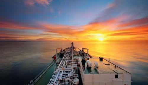 LNG vessel at sunset