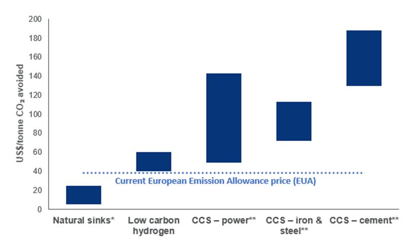 Carbon abatement cost ranges (2030)