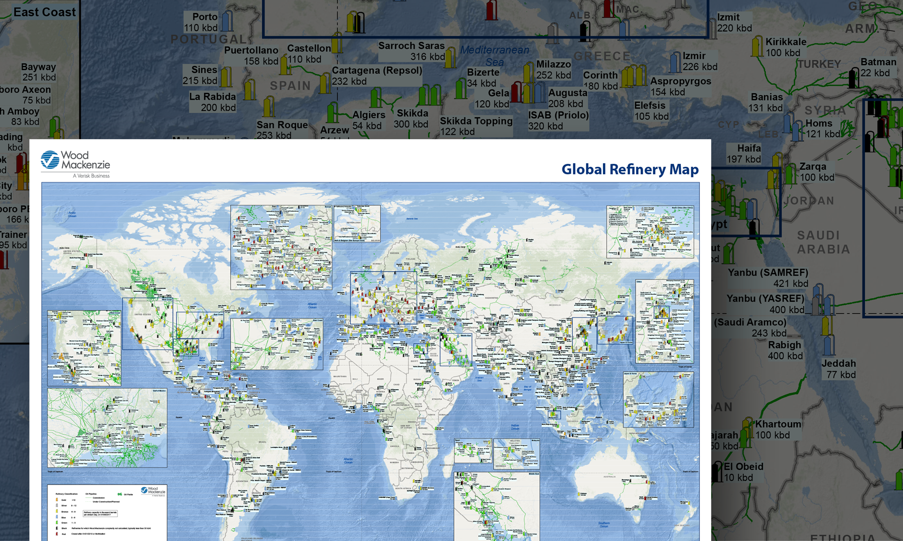 Global Oil Refinery Wall Map