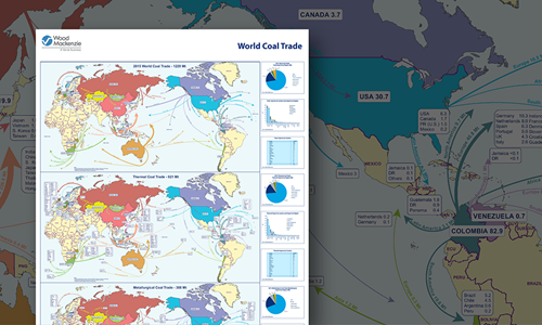 Coal World Map.World Coal Trade Wall Map Wood Mackenzie